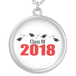 Class Of 2018 Caps And Diplomas (Red) Silver Plated Necklace