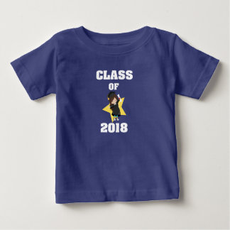Class of 2018 Dark Haired Girl Cap and Gown Star