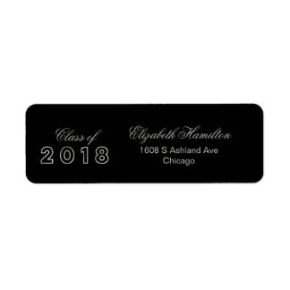 Class of 2018 Faux Foil Silver Elegant Graduation Return Address Label