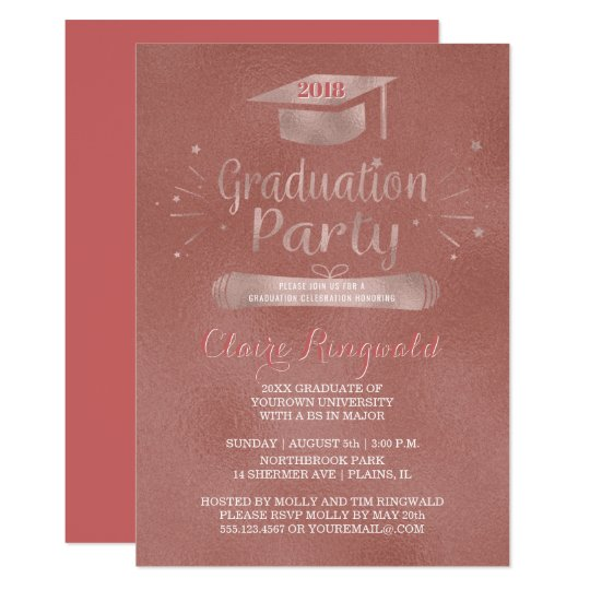 Class of 2018 Grad Cap Rose Gold Graduation Party Card