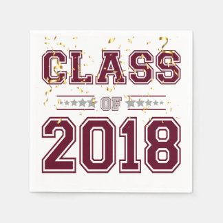 Class of 2018 Grad Party  Burgundy and Silver Paper Napkin