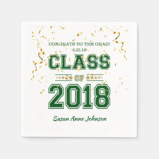 Class of 2018 Grad Party  Green and Gold Paper Napkin