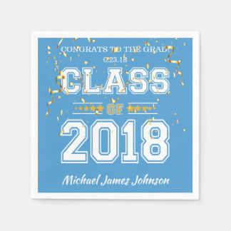 Class of 2018 Grad Party  Light Blue and Gold Disposable Napkin
