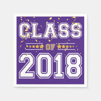 Class of 2018 Grad Party Purple and Gold Disposable Napkin
