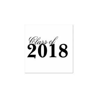 Class of 2018 Graduation | Black White Grad Year Rubber Stamp