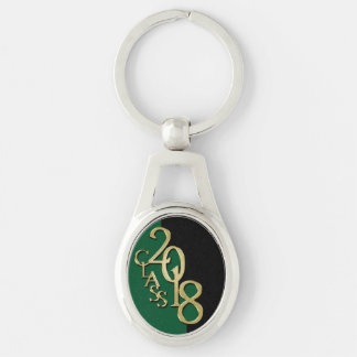 Class of 2018 Graduation Gold, Green and Black Key Ring