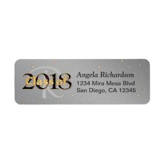 Class of 2018 Graduation Monogram Gold Typography Return Address Label