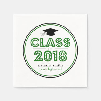 Class Of 2018 Graduation Napkins (Green) Disposable Serviette