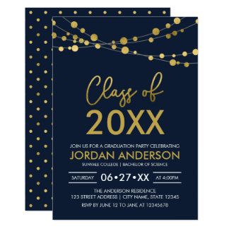 Class of 2018 Graduation Party Strings of Lights Card