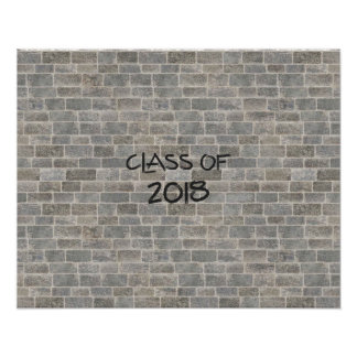 "Class of 2018 Gray Brick ""Write On My Wall"" Poster"