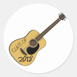Class of 2018 Guitar Classic Round Sticker