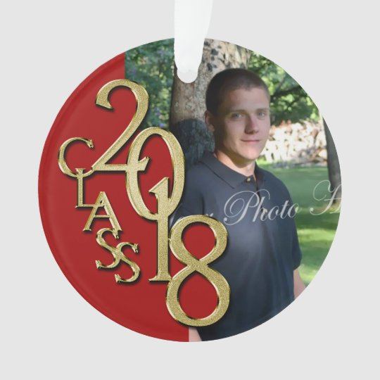 Class of 2018 Red and Gold Photo Ornament