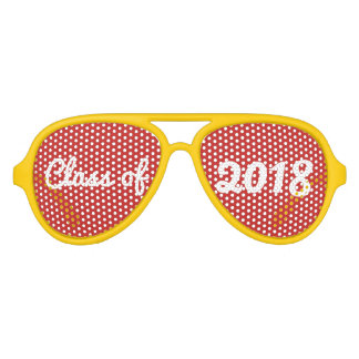 Class Of 2018 Red Bold Typography Graduate Aviator Sunglasses
