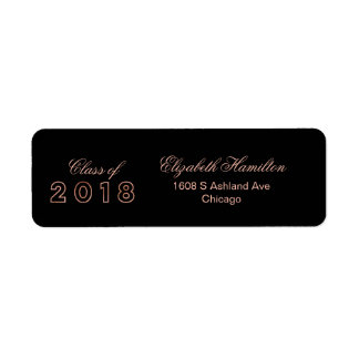 Class of 2018 Rose Gold Elegant Graduation Return Address Label
