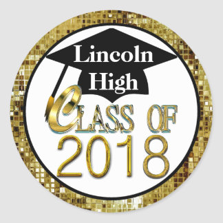 Class Of 2018 Sparkling Gold Graduation Seals