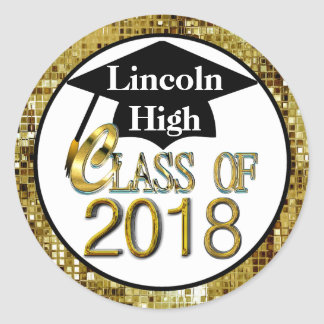 Class Of 2018 Sparkling Gold Graduation Seals Round Sticker