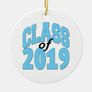 Class of 2019 blue ceramic ornament