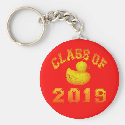 Class Of 2019 Rubber Duckie - Yellow/Red 2 Key Chain