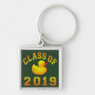 Class Of 2019 Rubber Duckie - Yellow/Red 2 Silver-Colored Square Key Ring