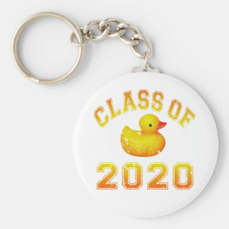 Class Of 2020 Rubber Duckie - Yellow Basic Round Button Key Ring