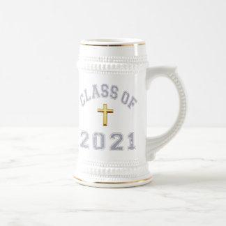 Class Of 2021 Christian Cross - Grey 2 Beer Steins