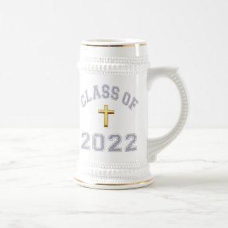 Class Of 2022 Christian Cross - Grey 2 Beer Steins