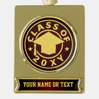 Class of 20?? gold plated banner ornament