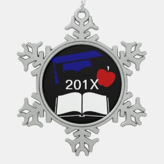 Class of 20xx Customizable Graduation Cap Pewter Snowflake Decoration