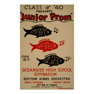 Class Of 40 Presents Junior Prom Vintage Poster