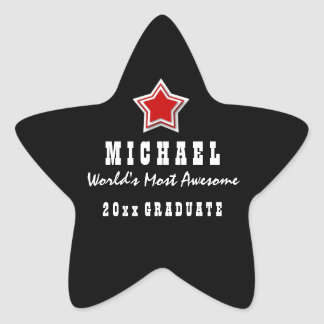 Class of ANY YEAR Awesome Graduate Z01 RED STAR Star Sticker