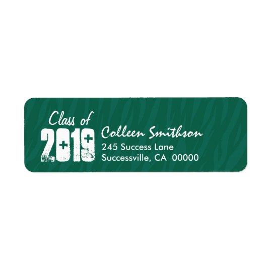 Class of Any Year GREEN Zebra Print Graduation Return Address Label