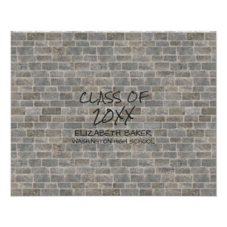 "Class of | Gray Brick ""Write On My Wall"" Keepsake Poster"