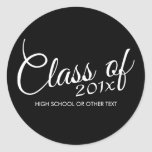 Class of with Custom Year and High School Round Stickers