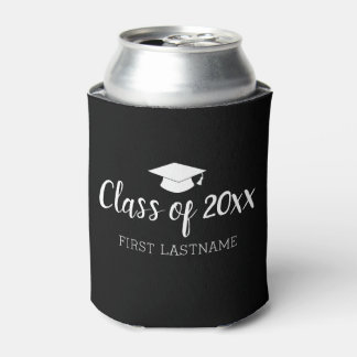 Class of Year and Name - Black Can Change Color Can Cooler