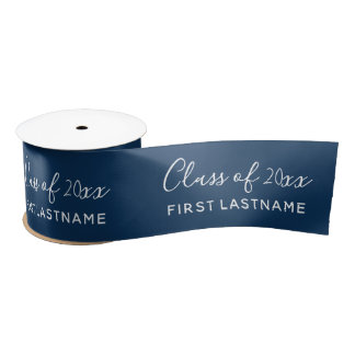 Class of Year and Name - Navy Blue Can Change Satin Ribbon