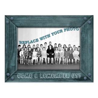 Class Reunion Invitation with Old Wood Frame Postcard