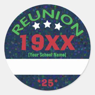 Class Reunion Shiny Background Name Tag Round Sticker