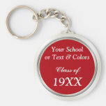 Class Reunion Souvenirs, School Name, Year, Basic Round Button Key Ring