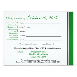 Class Reunion Varsity Stripe Response Card 11 Cm X 14 Cm Invitation Card