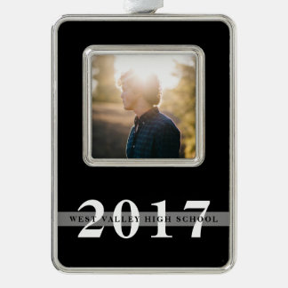 Class Year & School | Graduation Photo Silver Plated Framed Ornament
