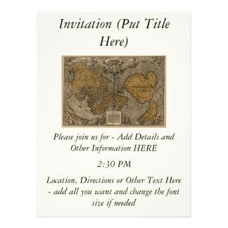 Classic 1531 Antique World Map by Oronce Fine Invitations