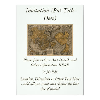Classic 1531 Antique World Map by Oronce Fine 17 Cm X 22 Cm Invitation Card