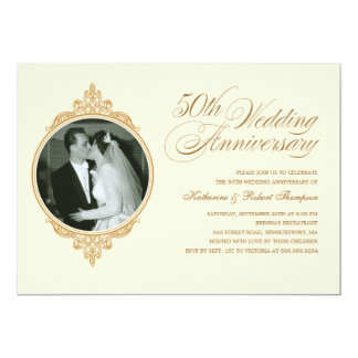 Classic 50th Anniversary Photo Invitations
