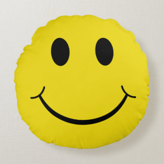 Classic 70's Smiley Happy Face Round Cushion