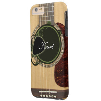 Classic Acoustic Guitar with custom monogram name Tough iPhone 6 Plus Case