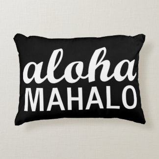 Classic Aloha Mahalo Typography Hawaii Decorative Cushion
