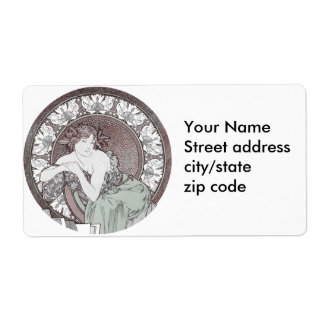Classic Alphonse Mucha Goddess Shipping Label