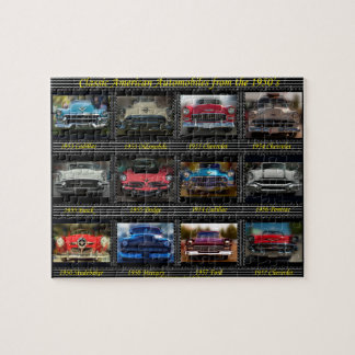 Classic American automobiles from the 1950's. Puzzles