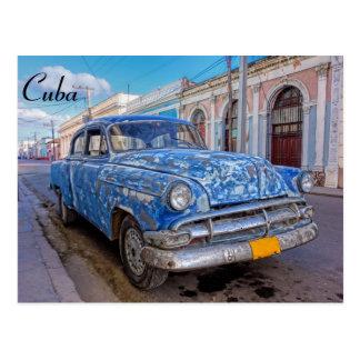 Classic American car in Cienfuegos, Cuba postcard