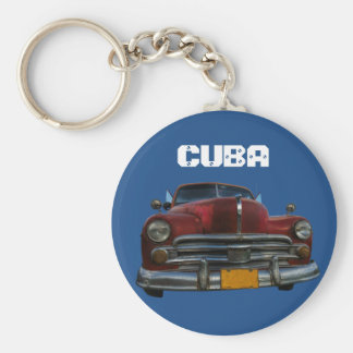 Classic American car in Vinales, Cuba Basic Round Button Key Ring